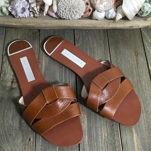 Zara Strappy Leather Slides SZ 9 Great Condition